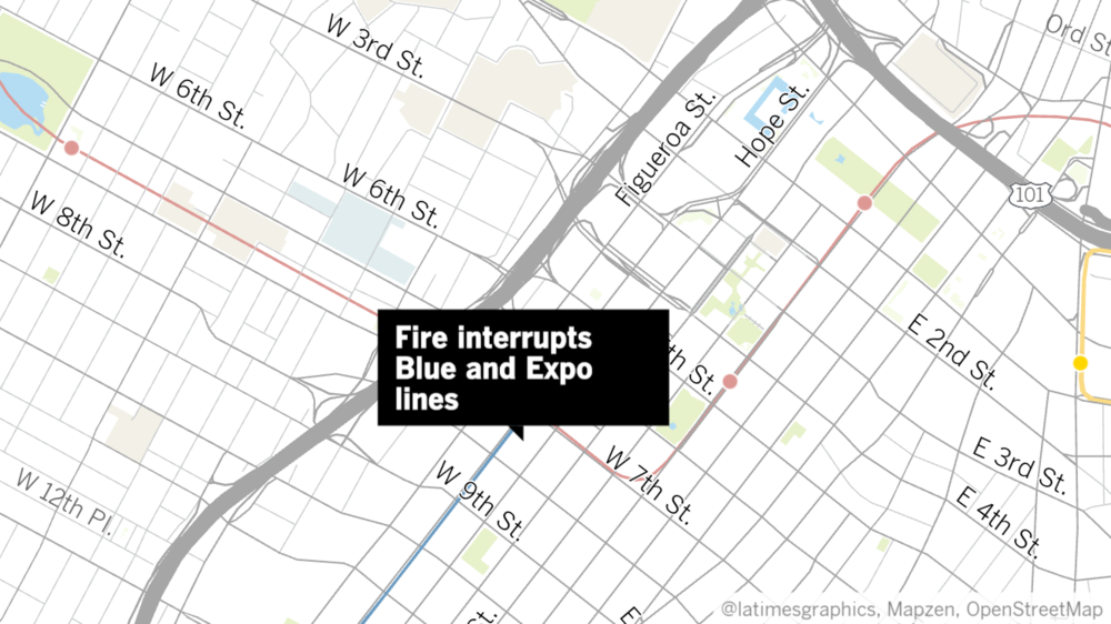 Fire interrupts Blue and Expo lines