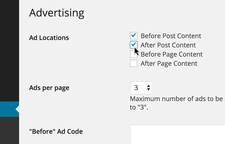 Toggle where and how many ads should display.