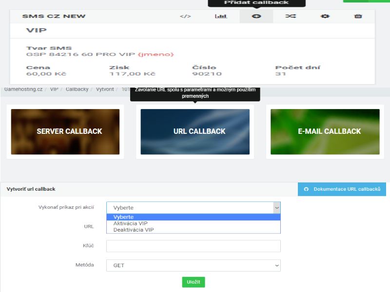Image of Create CallBack VIP GateWay