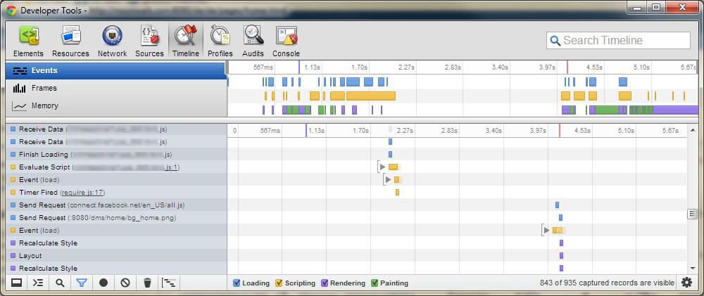 Chrome Developer Tools timeline view