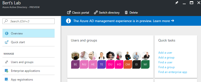 Azure AD Main Page