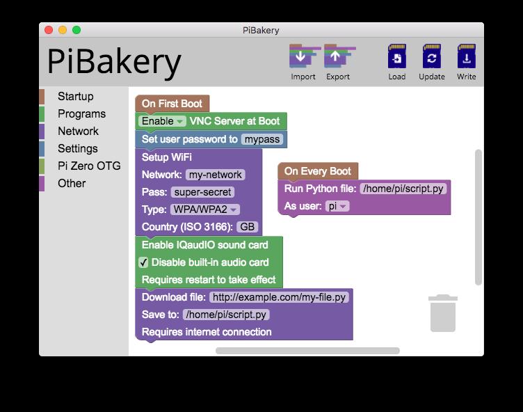 PiBakery demo screen