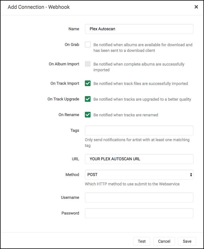 Lidarr Plex Autoscan