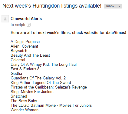 Emailed cinema listings
