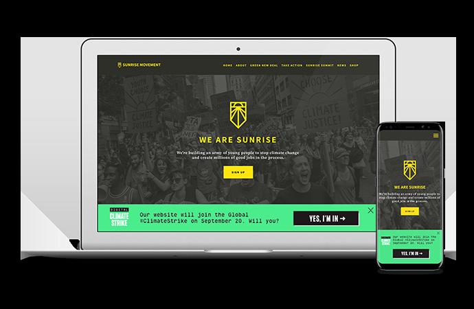A screenshot of the Digital Climate Strike footer widget