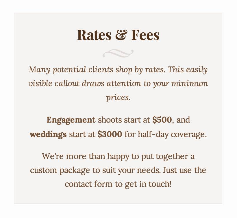Contact page template's rates area