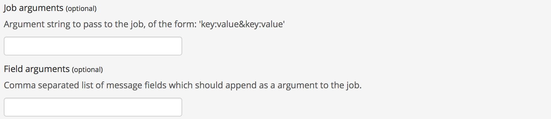 Screenshot: Set job arguments