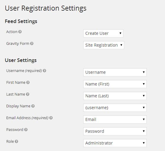 User Settings Setup