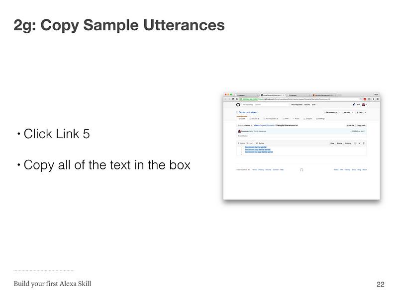 Step 2g: Copy Sample Utterances