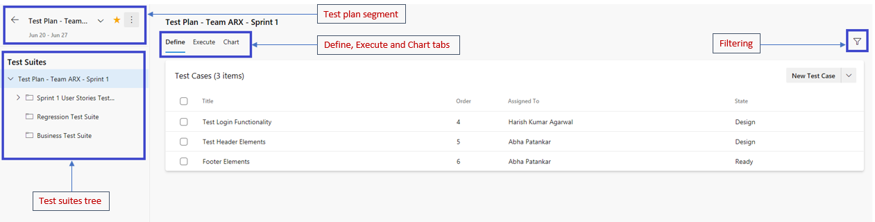 New Test Plans page features