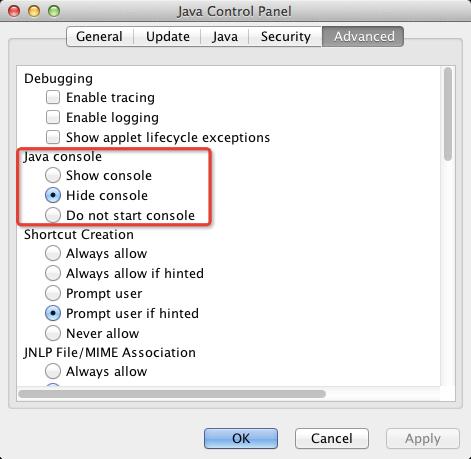 Java Web Start Console Setting