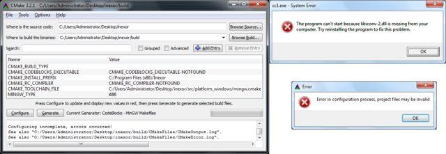 Windows+Mingw+Codeblocks failing · Issue #121 · inexorgame/inexor