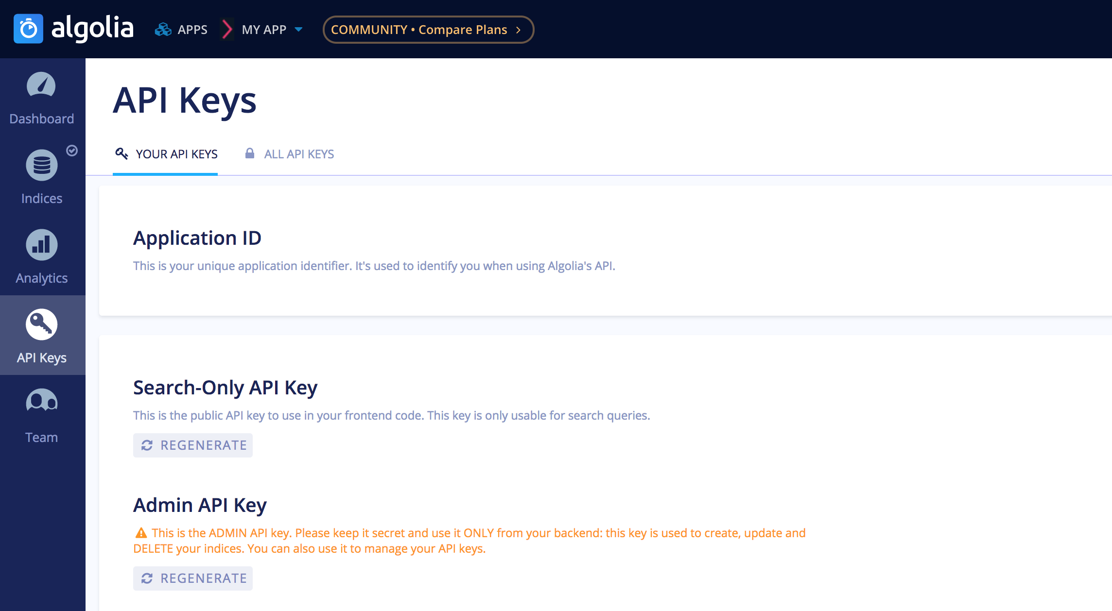 Algolia dashboard API Keys page