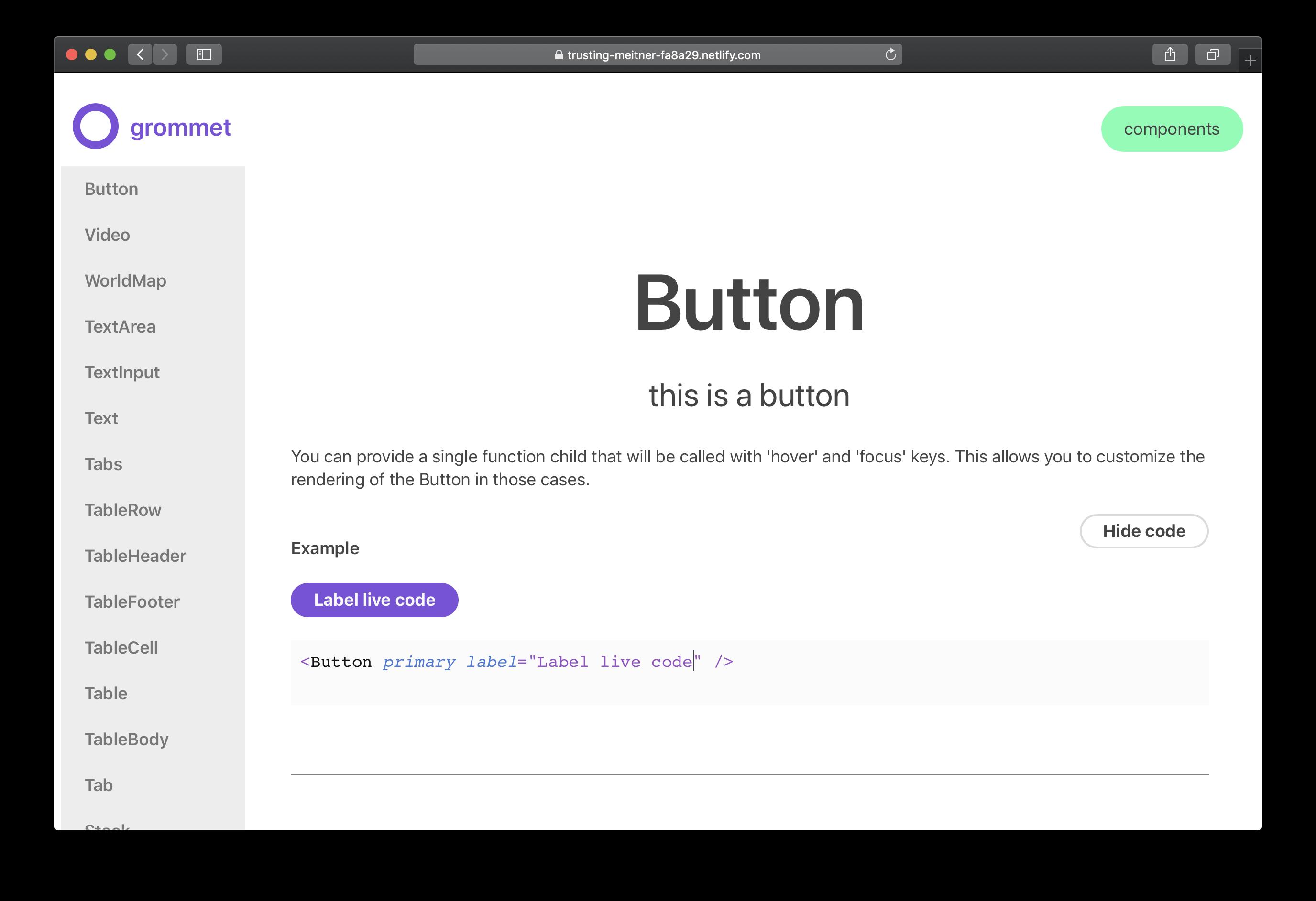Screenshot of Gatsby documentation prototype on Netlify