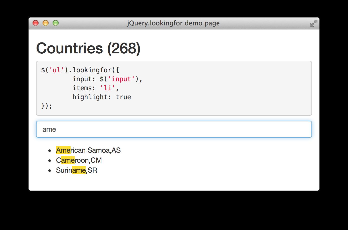 GitHub - albburtsev/jquery lookingfor: Fast search as you