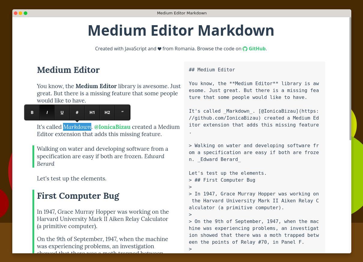 Medium Editor Markdown