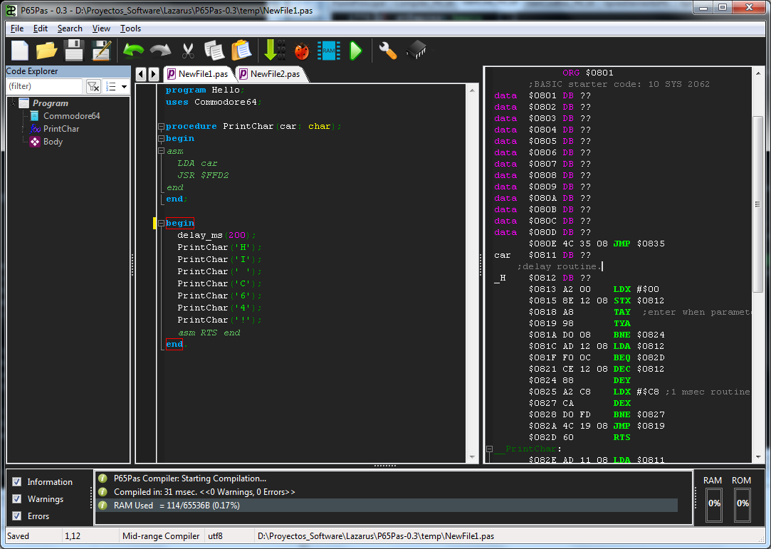 GitHub - t-edson/P65Pas: CPU 6502 Pascal Compiler/IDE/Debugger