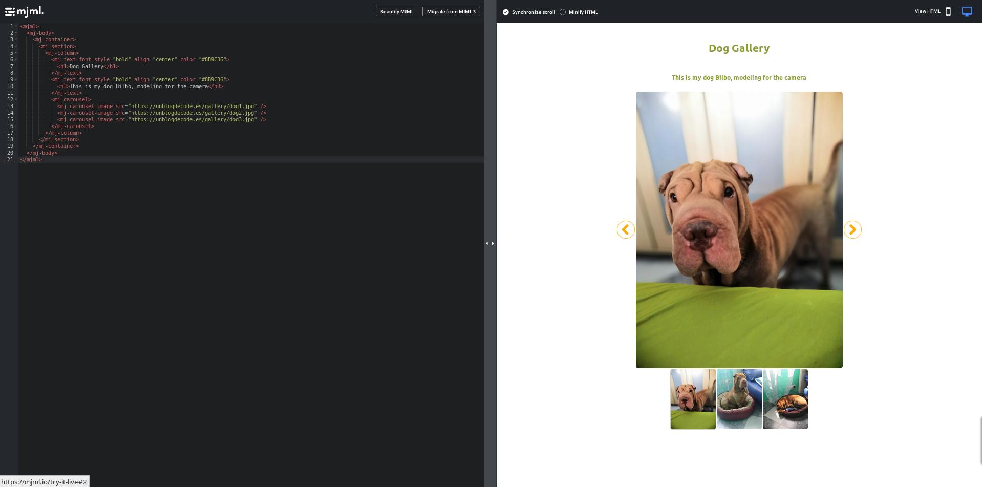Mjml Screenshoot
