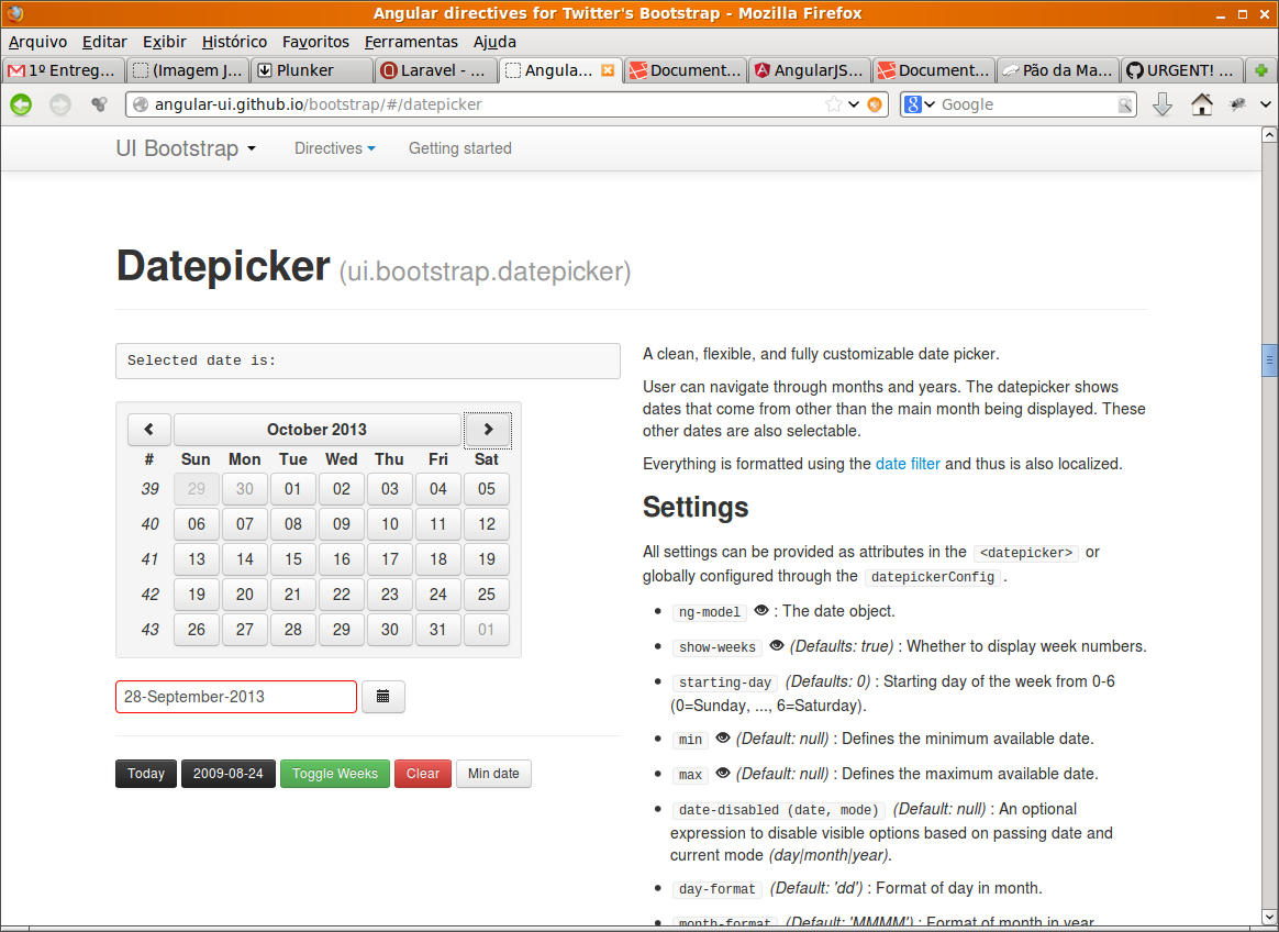 Datepicker shows two October 19, 2013 dates! Live at AngularJS UI