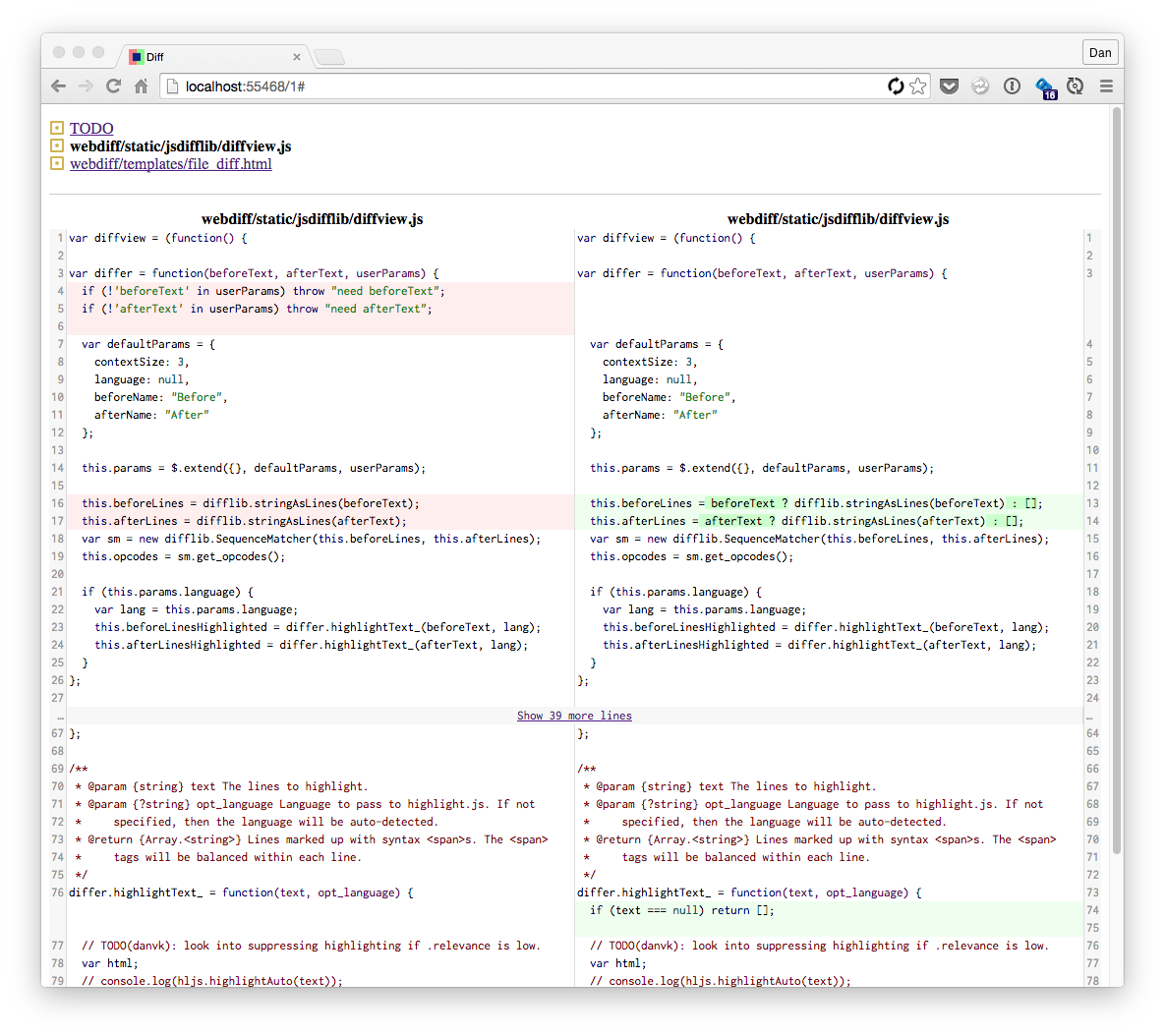 Screenshot of webdiff in action