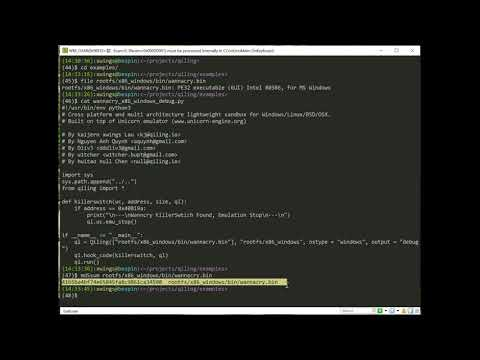 qiling DEMO 0: catching wannacry's killer swtich