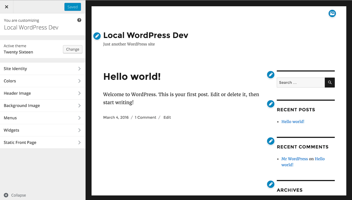 WordPress Customization framework images