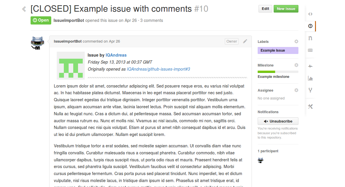Example result of an imported pull request