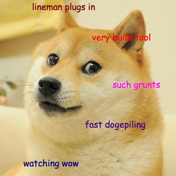 Lineman-dogescript is a very serious plugin that provides configuration for including dogescript in your build using the grunt-dogescript module, which in turn relies on the official dogescript distrubtion from npm