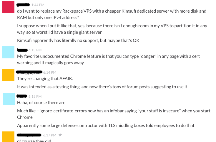 Screenshot of Slack exhibiting this message-merging behavior