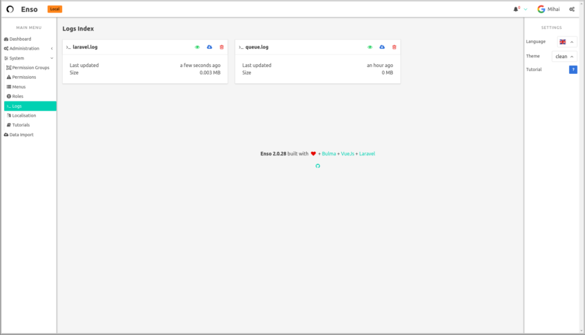 GitHub - laravel-enso/logs: Laravel Enso Log Manager, so that your