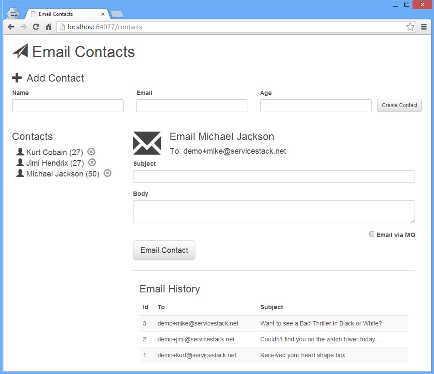 EmailContacts Screenshot