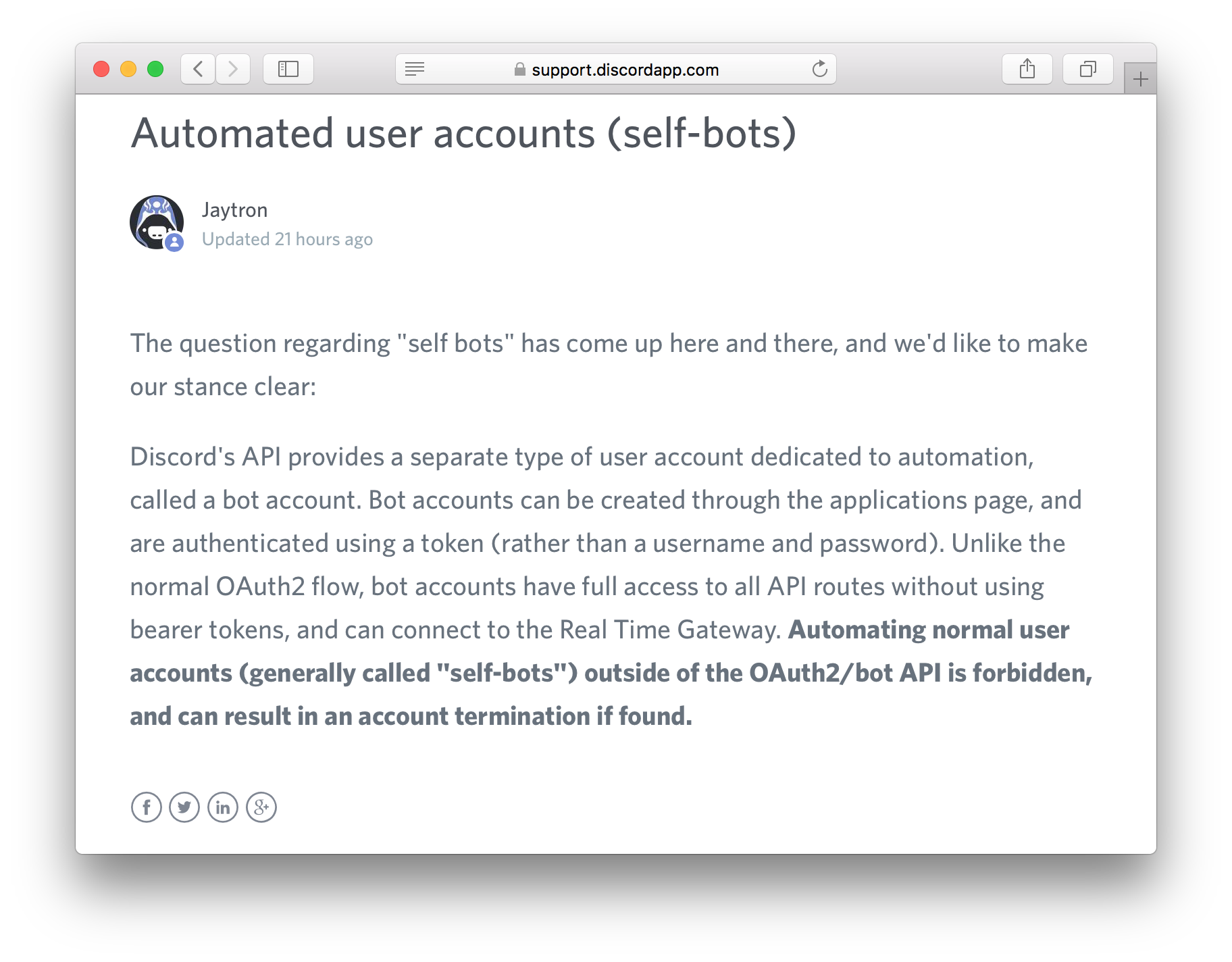 Screenshot of Discord Support article on self-bots