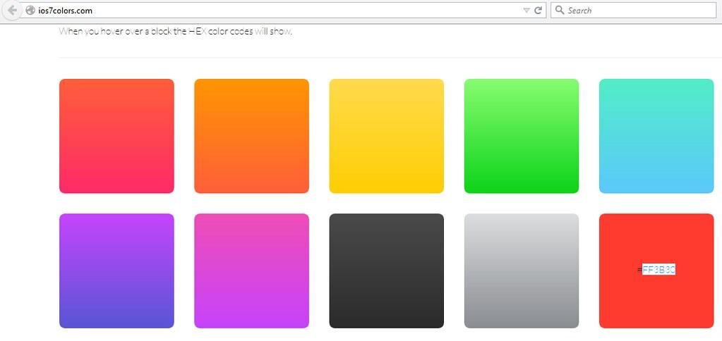 Paleta de colores de IOS7