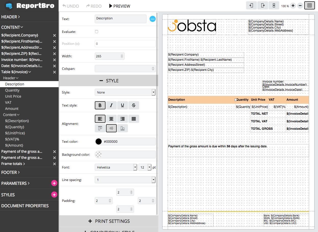 ReportBro Designer in action
