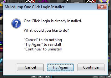 One Click Login Reinstall Option