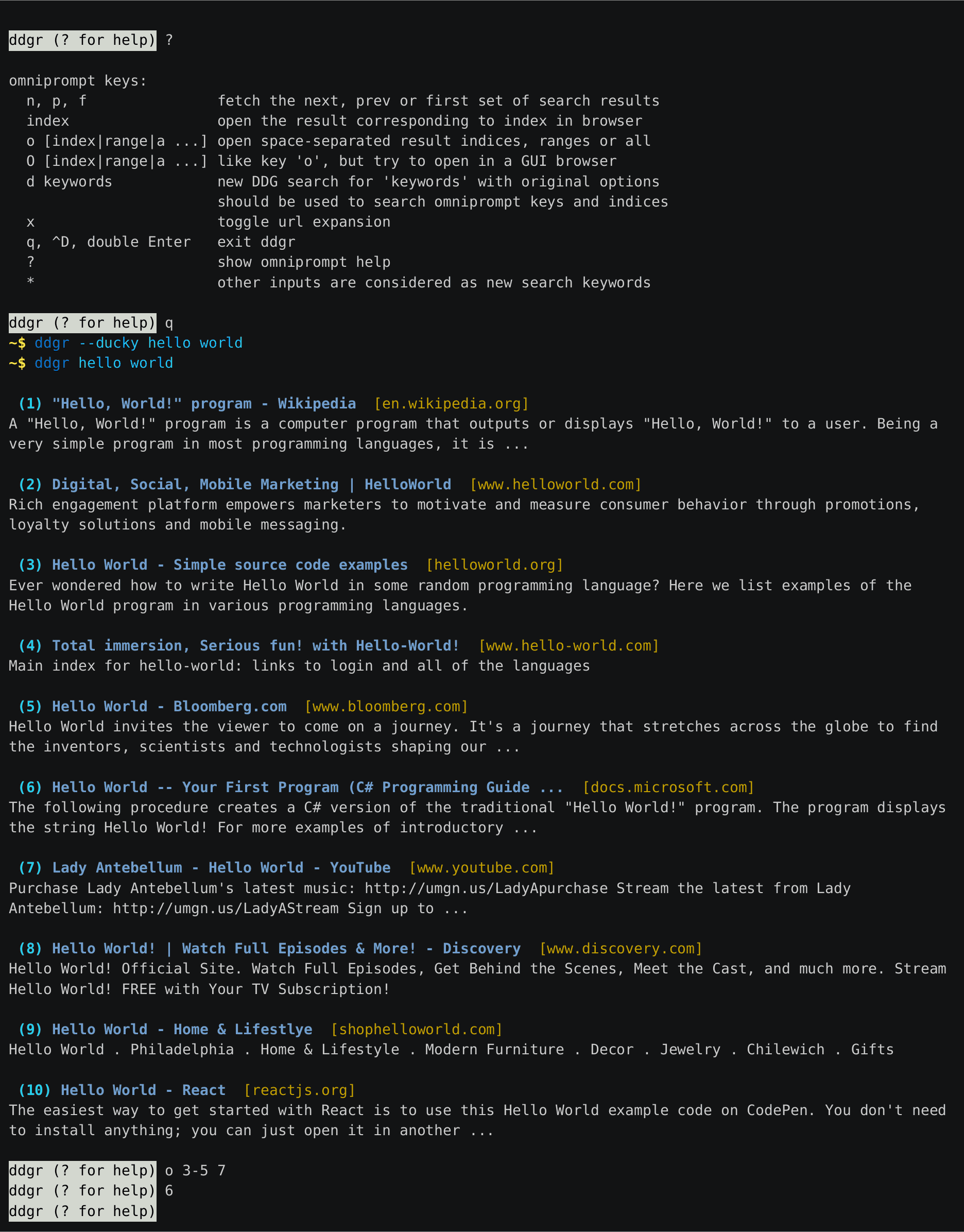 DDGR - search from linux command line