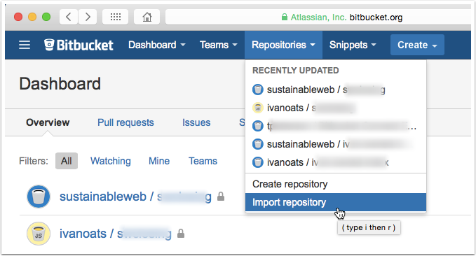 bitbucket import repository