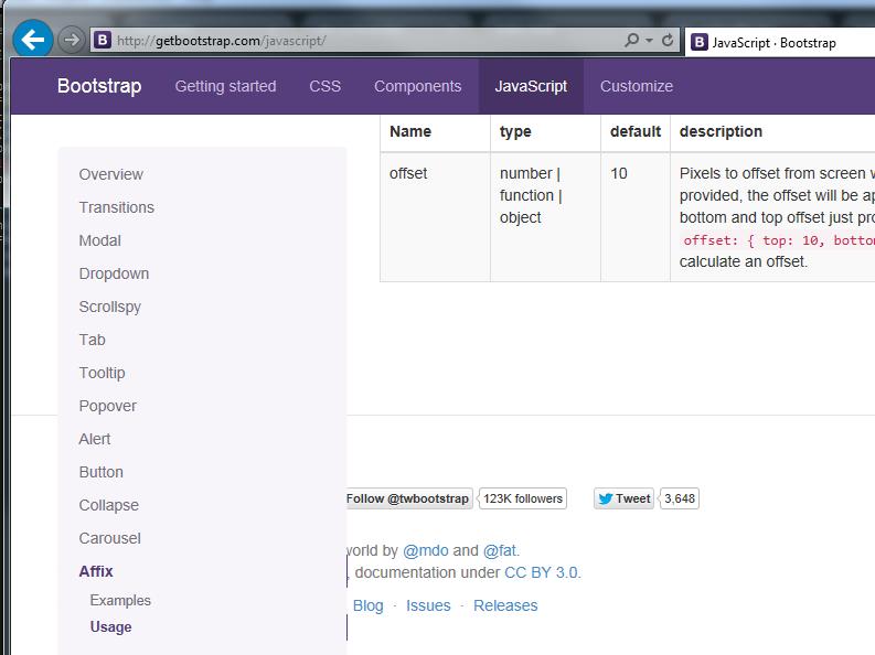 Affix Plugin Flickering at bottom in IE (8 - 11) · Issue