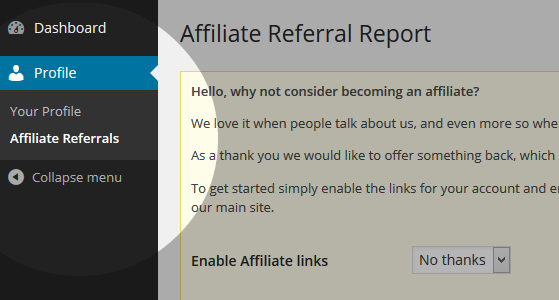 Affiliate referrals menu