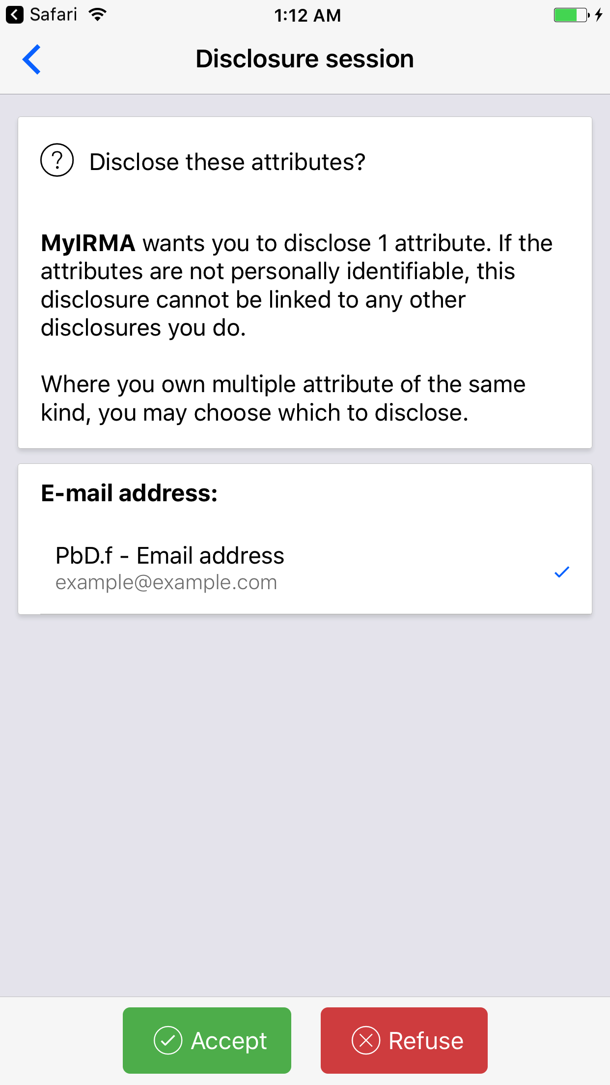 Screenshot of the IRMA app on Android, showing the 'disclose these attributes?' screen.