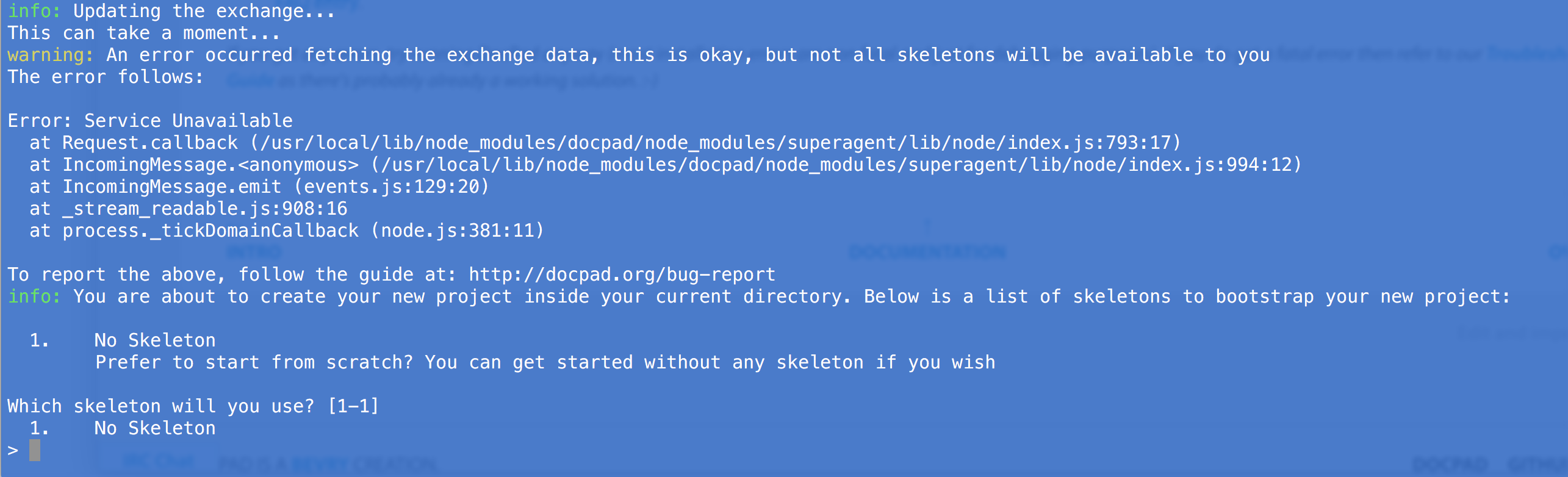 A screenshot of my terminal that shows an error service unavailable when attempting to reach the skeleton list