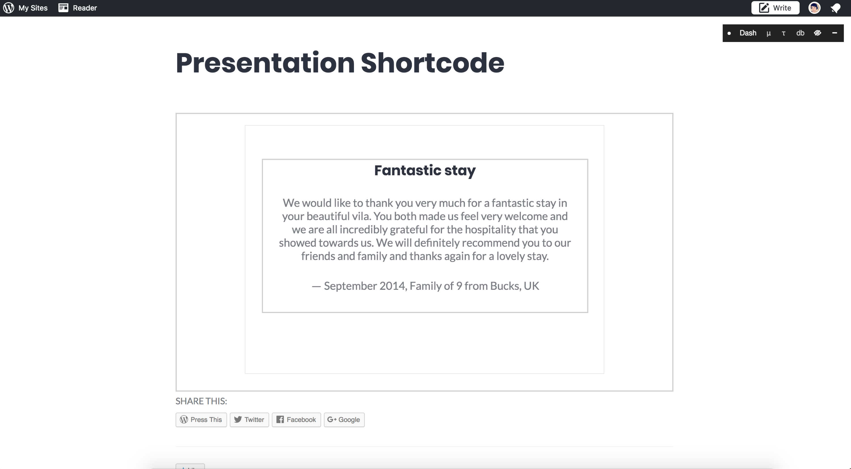 Shoreditch Presentation Shortcode Error On Panel Page Template
