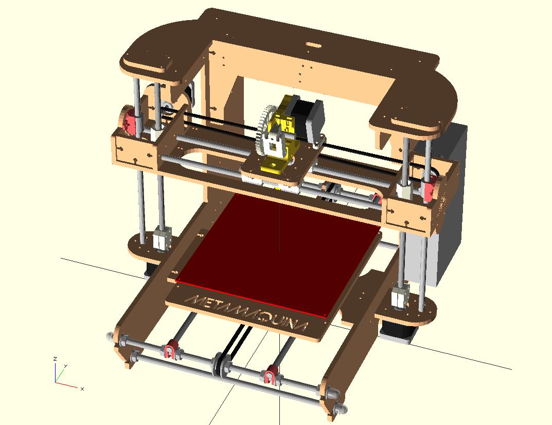 An OpenSCAD rendering of the Metamaquina 2 desktop 3d printer