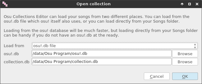 Open collection dialog