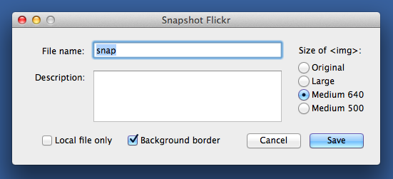 snapflickr dialog box