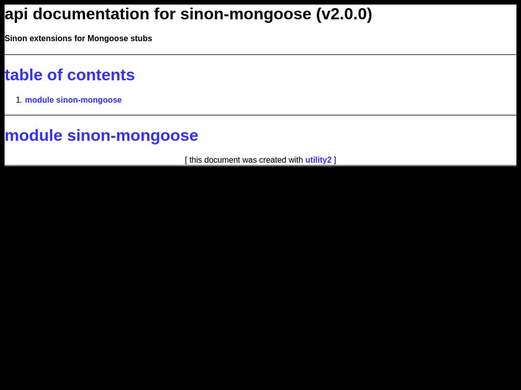 npmdoc-sinon-mongoose 0 0 1 on npm - Libraries io