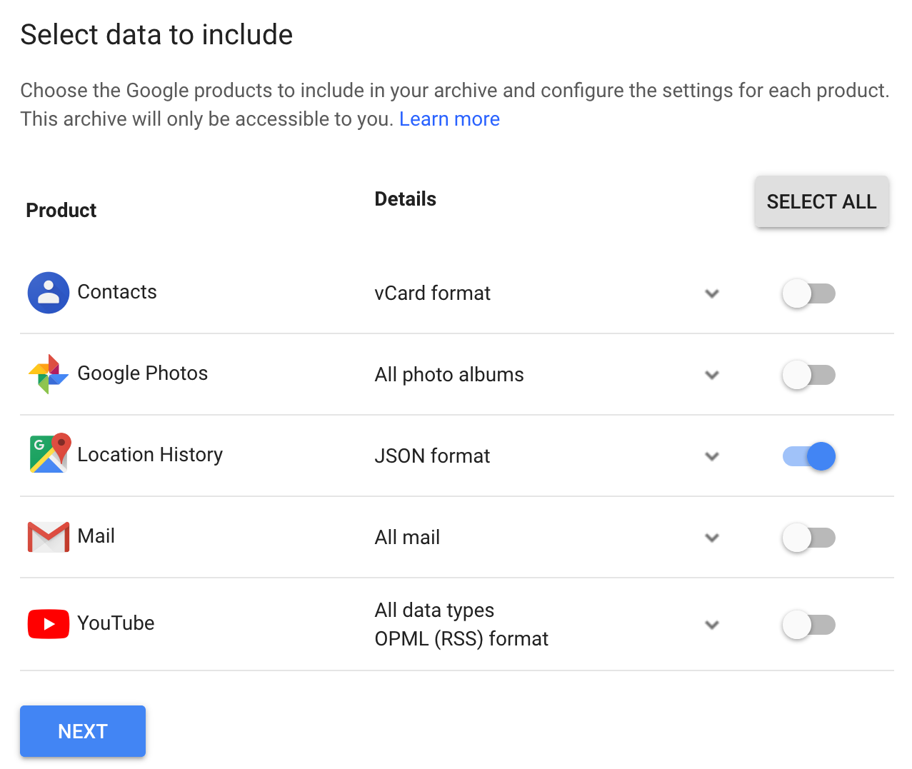 Screenshot of Google Takeout