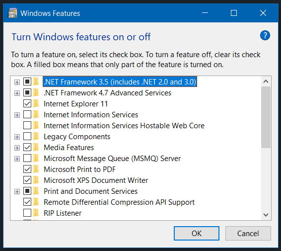toggle windows features