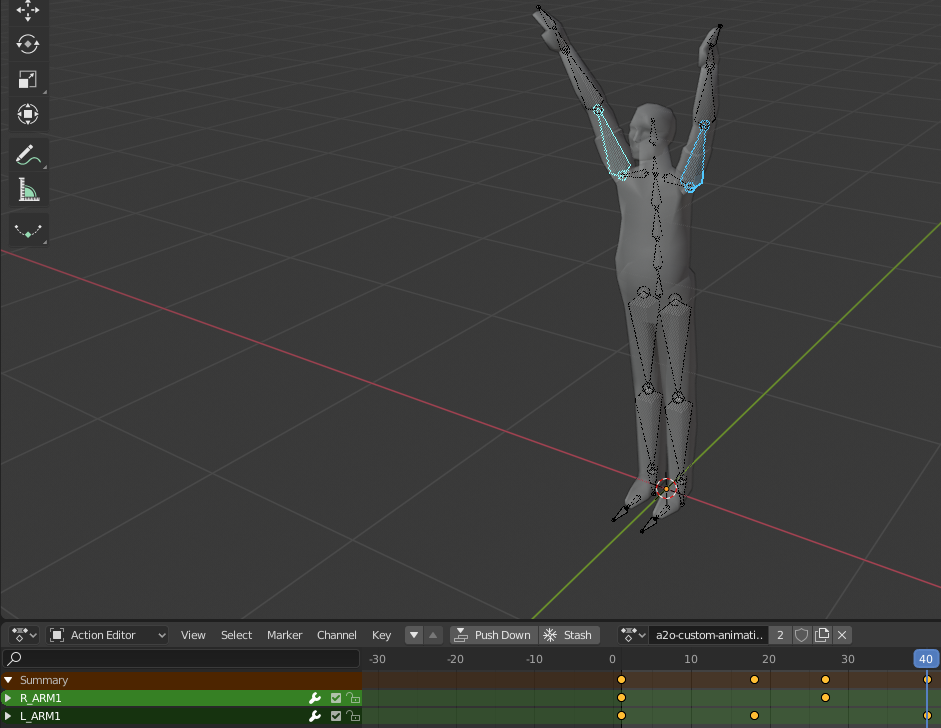 An example animation in the Action Editor