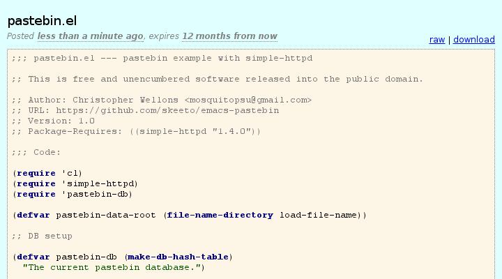 GitHub - skeeto/emacs-pastebin: A pastebin server implemented in